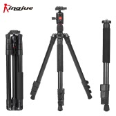 Kingjue BT-258+QB-0T Aluminum Alloy Lightweight Portable Camera Tripod Monopod  with 360° Panorama Ball Head for Canon Nikon Sony DSLR Camera