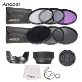 Andoer 77mm Lens Filter Kit UV+CPL+FLD+ND(ND2 ND4 ND8) with Carry Pouch / Lens Cap / Lens Cap Holder / Tulip & Rubber Lens Hoods / Cleaning Cloth