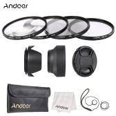 Andoer 77mm Lens Filter Kit with Lens Cap Holder Tulip Rubber Lens Hoods  Cleaning Cloth