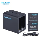 TELESIN Dual 2 Slots Sports Camera Battery Charger Kit with 2pcs 3.8V 1200mAh Replacement AHDBT-401 Battery for GoPro Hero 4