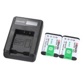 Portable LED Power Charger with 2pcs 1450mAh NP-BX1 Rechargeable Li-ion Lithium Batteries for Sony DSC Series Cybershot Digital Camera Camcorder