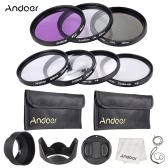 Andoer 49mm UV + CPL + FLD + Close-up Lens Filter Kit with Carry Pouch Lens Cap Holder Tulip Rubber Hoods Cleaning Cloth