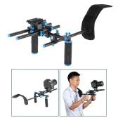 """Aluminum Alloy Video Shoulder Mount Support Rig Stablizer with 1/4"""" Screw Mount Slider 15mm Rod Double-hand Handgrip Set C-shaped Holder for DSLR Camera Camcorder"""