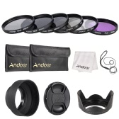 Andoer 49mm Lens Filter Kit UV+CPL+FLD+ND(ND2 ND4 ND8) with Carry Pouch / Lens Cap / Lens Cap Holder / Tulip & Rubber Lens Hoods / Cleaning Cloth