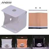 Andoer Q1A 25 * 20.7cm/9.8 * 8.1in Folding Collapsible Foldable 15 LED Mini USB Softbox Lightbox Cube Diffusion Tent Kit w/ 3 Colors Background for Canon Nikon Sony DSLR Camera Smartphone Photo Studio Shooting Photography