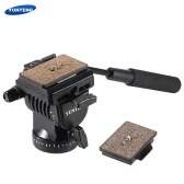 YUNTENG YT-950 Professional DSLR Camera Video Fluid Drag Tilt Pan Damping Head with Handle Two Quick Release Plates for Nikon Canon Sony Samsung Panasonic Tripod Monopod Slider Rail