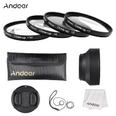 Andoer 55mm Close-up Macro Lens Filter Set(+ 1 +2 +4 +10) with Lens Accessories(Lens Pouch + Collapsible Lens Hood + Lens Cap + Lens Cap Holder + Cleaning Cloth)