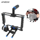 Andoer C200 Aluminum Alloy Camera Camcorder Video Cage Kit Film Making System with Cage 15mm Rod Matte Box Follow Focus Handle Grip for Canon Nikon DSLR