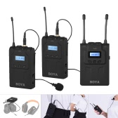 BOYA BY-WM8 Pro Clip-on UHF Dual-Channel Wireless Mic Microphone System Audio Video Recorder 2 Transmitter 1 Receiver for Canon Nikon Sony DSLR Camera Camcorder