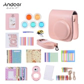 Andoer 14 in 1 Accessories Kit for Fujifilm Instax Mini 8/8+/8s/9 w/ Camera Case/Strap/Sticker/Selfie Lens/5*Colored Filter/Album/3 Kinds Film Table Frame/10*Wall Hanging Frame/40*Border Sticker/2*Corner Sticker/Pen