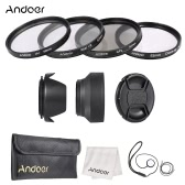Andoer 52mm Lens Filter Kit with Lens Cap Holder Tulip Rubber Lens Hoods Cleaning Cloth