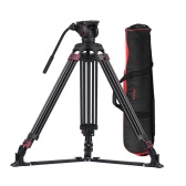 Miliboo MTT609A Professional Photography 3 Sections Tripod Stand Aluminum Alloy with 360° Panorama Fluid Hydraulic Bowl Head Max. Height 170cm/ 5.6ft Load Capacity 15kg for Canon Nikon Sony DSLR Cameras Camcorders