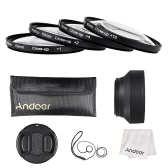 Andoer 62mm Close-up Macro Lens Filter Set(+ 1 +2 +4 +10) with Lens Accessories(Lens Pouch + Collapsible Lens Hood + Lens Cap + Lens Cap Holder + Cleaning Cloth)
