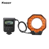 SHOOT XT-103C LED Macro Ring Flash Light LCD Display Adjustable Brightness with Adapter Rings Orange Filter for Canon Nikon   Pentax Olympus DSLR Cameras