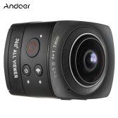Andoer Panorama 360° VR Video Camera Full HD 1440P 1080P 30FPS 8MP Sports Action IP Camera 220° Fisheye Wide-angle Lens Dome Wifi Support Gyroscope Virtual Reality System Split-screen Up-down Flip Display