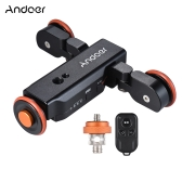 Andoer L4 Autodolly 3 Speed Adjustable with Wireless Remote Control/ 1800mAh Rechargeable Battery Electric Motorized 3-Wheel Pulley Car Slider Rolling Skater for Canon Nikon Sony DSLR Camera for iPhone X 8 7 7 plus 6 plus Smartphone for GoPro 5/4/3+/3 Action Camera Time Lapse/Low Angle/Macro Video Shooting Photography