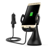 dodocool 10W Fast Charge Wireless Car Charger Air Vent Suction Mount USB Power Adapter 1.5m Charging Cable for Samsung Galaxy S7 / S7 Edge / Note5 / S6 Edge Plus Compatible with Qi-enabled Devices Black