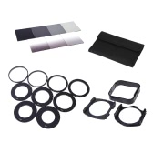 ND2/ND4/ND8/ND16+GND2/GND4/GND8 Square Filter 9 Adapter Rings 2 Holder 1Lens Hood Set Kit with 1 Case for Cokin P
