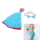 Baby Infant Mermaid Blue Crochet Knitting Costume Soft Adorable Clothes Photo Photography Props for 0-6 Month Newborn