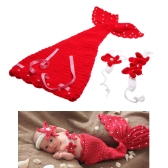 Baby Infant Mermaid Red Crochet Knitting Costume Soft Adorable Clothes Photo Photography Props for 0-6 Month Newborn