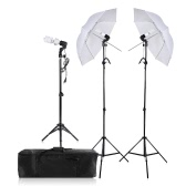 Photography/Video Portrait Umbrella Continuous Triple Lighting Kit with Three Bulbs Three E27 Swivel Socket Three Stand Two Umbrellas Carrying Case