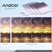Andoer P Series Gradual Graduated Neutral Density Resin Filter Set Graduated Filters 0.3ND 0.6ND 0.9ND 1.2ND 52mm Adapter Ring Square Filter Holder with Bag for DSLR Camera