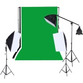 1215W Softbox Lighting Kit Studio Backdrop Stand Black White Green Backdrop 135W Light Bulbs Softbox Light Stand Cantilever Stick