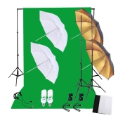 Professional Photography Photo Lighting Kit Set with 45W 5500K Daylight Studio Bulbs Light Stands Black White Green Nonwoven Fabric Backdrop Soft Reflector Umbrellas  Backdrop Stands