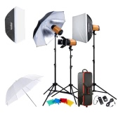 Godox Professional Photography Photo Studio Speedlite Lighting Lamp Kit Set with (3 * )300W Studio Flash Strobe Light Stand Softbox Reflector Soft Umbrella Barn Door  Trigger