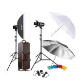 Godox Professional Photography Photo Studio Speedlite Lighting Lamp Kit Set with (2 * )300W Studio Flash Strobe Light Stand Softbox Reflector Soft Umbrella Barn Door Trigger