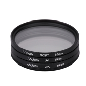 Andoer 55mm UV+CPL+SOFT Circular Filter Kit Circular Polarizer Filter Soft Focus Effect Diffuser with Bag for Nikon Canon Pentax Sony DSLR Camera