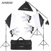 Andoer Studio Photo Video Softbox Lighting Kit Photo Equipment(15 * 45W Bulb / 3 * 5in1 Bulb Socket / 3 * Softbox / 3 * Light Stand / 1 * Cantilever Stick / 1 * Carrying Bag UK Plug 220V