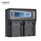Andoer LP-E6 LP-E6N Dual Channel Digital Camera Battery Charger w/ LCD Display for Canon  EOS 5DII 5DIII 5DS 5DSR 6D 7DII 60D 80D 70D