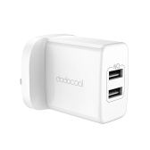 dodocool 24W 2-Port USB Wall Charger Travel Power Adapter for Samsung Galaxy S8 / iPhone X / iPhone 8 Plus / OnePlus 5 / Motorola Moto Z / HTC U11 / Google Pixel and More USB-powered Devices UK Plug White