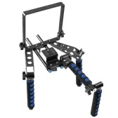 "Foldable Aluminium Alloy Shoulder Mount Support Rig Stabilizer 1/4"" Screw with Camera Bracket DSLR Kit Filming Equipment for Canon Nikon Lumix Sony Pentax Olympus Camera"