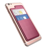 dodocool Ultra-slim Self Adhesive Credit Card Holder 2 Slot Stick-on Wallet for iPhone 7 Plus/7/6s Plus/6s/6 Plus/6 Smartphones Rose Red