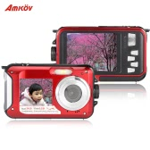 "Amkov Dual LCD 2.7"" HD 24MP 16X Digital Zoom 1080P 30FPS Waterproof Anti-shake Selfie Digital Camera Camcorder"