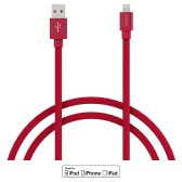dodocool MFi Certified Canvas Braided Lightning to USB Charge and Sync Cable 3.3ft / 1m for iPhone 7 Plus / 7 / SE / 6s Plus / 6s / 6 Plus / 6 / 5 / 5s / 5c / iPad Air 1/2 / iPad Pro / iPad mini 1/2/3/4 / iPod touch 5th gen / nano 7th gen Red