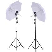 Photo Studio Lighting Kit Set Light Stand White Soft Light Umbrella 45W Light Bulb Swivel Light Socket