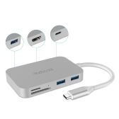 dodocool Aluminum Alloy 7-in-1 USB-C Hub with Type-C Power Delivery 4K Video HD Output SD/TF Card Reader and 3 SuperSpeed USB 3.0 Ports for MacBook/MacBook Pro/Google Chromebook Pixel and More Silver