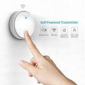 dodocool Self-powered Battery-free Wireless Doorbell Kit with 1 Battery-free Transmitter Push Button and 2 Plug-in Receivers CD Quality Sound 38 Melodies 4 Volume Levels 262ft Range White EU Plug