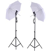 Photo Studio Lighting Kit Set 2Pcs 2 Meters 6.6Ft Light Stand + 2Pcs 33 Inch White Soft Light Umbrella + 2Pcs 45W Light Bulb +2Pcs Swivel Light Socket