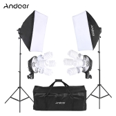 Andoer Studio Photo Lighting Kit with 2 * Softbox / 2 * 4in1 Bulb Socket / 8 * 45W Bulb / 2 * Light Stand / 1 * Carrying Bag