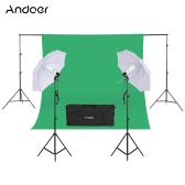 "Andoer Photography Kit 2 * 3m Backdrop Stand 1.8 * 2.7m Green Muslin Backdrop 2Pcs 135W 5500K White Daylight Light Bulbs with 2 Swivel sockets 2Pcs 33"" White Soft Light Umbrella 2Pcs Light Stand for Photo Studio"