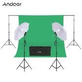 "Andoer Photography Kit 2 * 3m Backdrop Stand 1.8 * 2.7m Green Muslin Backdrop 2Pcs 135W 5500K White Daylight Light Bulbs with 2 Swivel sockets 2Pcs 33"" White Soft Light Umbrella 2Pcs Light Stand for Photo Studio"