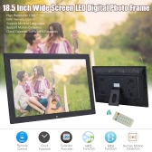 18.5 Inch Wide Screen 1366 * 768 High Resolution LED Digital Photo Frame Digital Album with Remote Control Motion Detection Sensor Support Audio Video Playing Clock Alarm Calendar Functions Support Multiple Languages