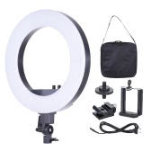 18 Inch LED Video Ring Light Fill-in Lamp Studio Photography Lighting 50W Adjustable Brightness 3200K-5500K Color Temperature with Smartphone Holder Cold Shoe Base Carrying Bag