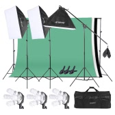 Andoer Photo Studio Lighting Kit 3pcs 50*70cm Softbox 12pcs 45W Bulb 3pcs 4in1 Bulb Socket 3pcs 2m Light Stand 1pc Cantilever Stick 1.6m*3m Black & White & Green Backdrop 1pc 2m*3m Backdrop Stand 3pcs Spring Clamp 1 Carrying Bag