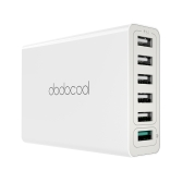 dodocool 58W 6-Port USB Desktop Charging Station Wall Charger Power Adapter with Quick Charge 3.0 1.5m Detachable AC Power Cord for USB-powered Devices EU Plug White