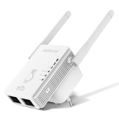 dodocool 3-in-1 N300 Mini Wireless Range Extender Signal Booster AP/Router/Repeater Mode with 2 External Antennas 2.4GHz 300Mbps Support 802.11n/b/g Network White EU Plug